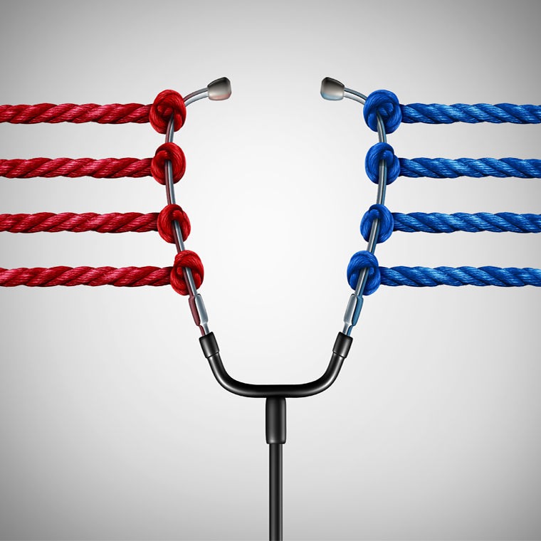 blue red stethoscope