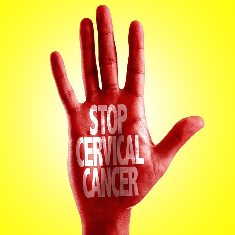 Hand with Stop Cervical Cancer written on it