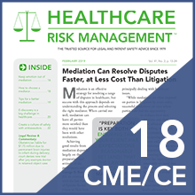 Hrm healthcare risk management 2018 cme ce
